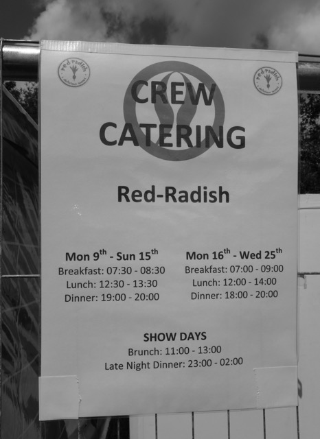 Crew Catering Meal Times