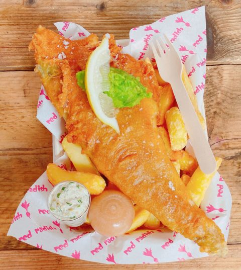 Red Radish Beer Battered Cod & Chips