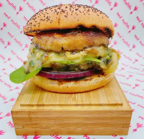 Charcoal Grilled Red Radish Burger