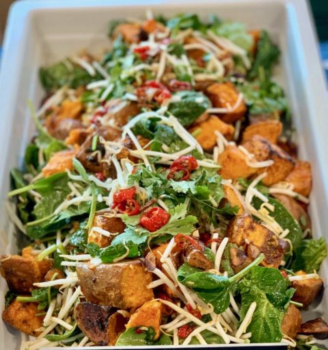 Sweet Potato with Sweet Chilli  Pea Shoots
